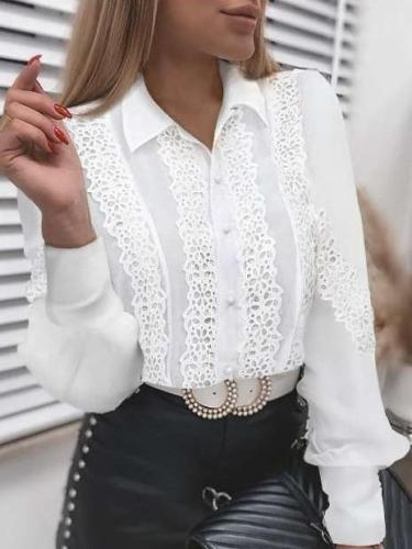 Fashion Pure Lace Long sleeve Blouses
