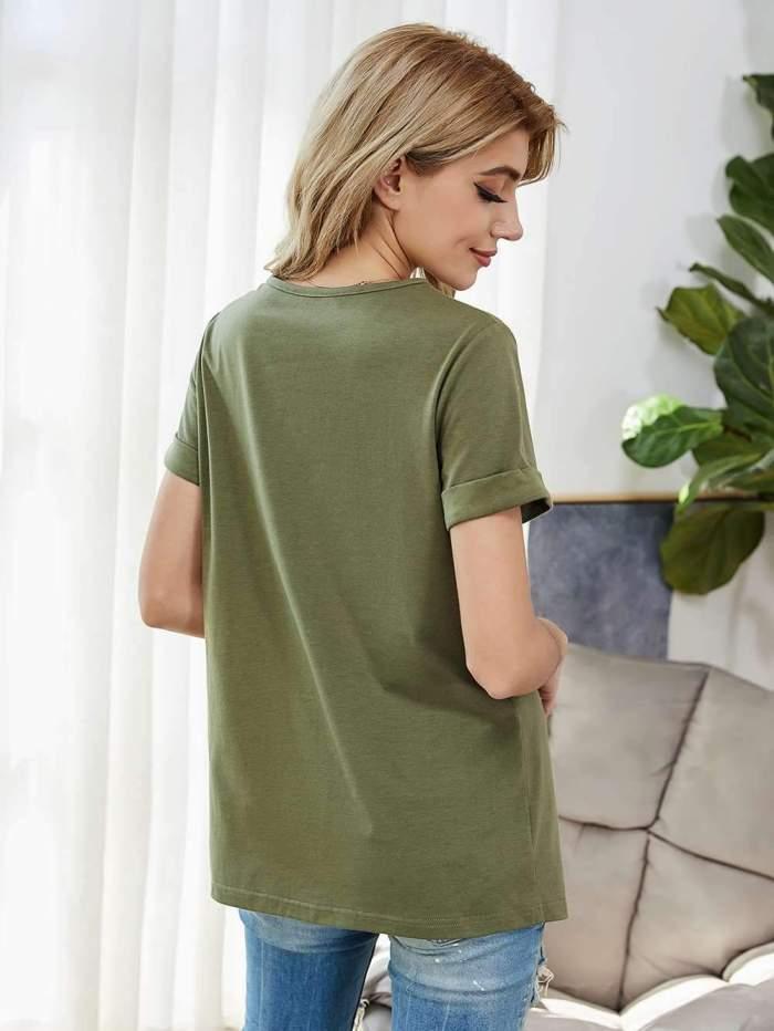 Pure Round neck Short sleeve Fastener T-Shirts