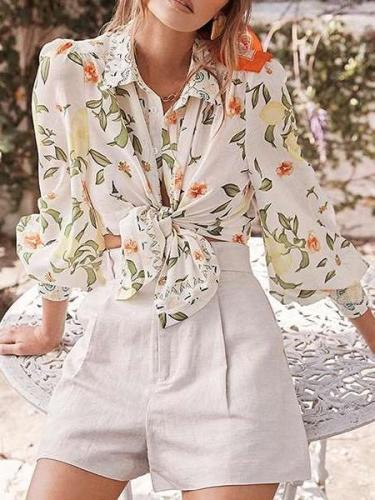 Fashion Casual Floral print Lapel Long sleeve Blouses