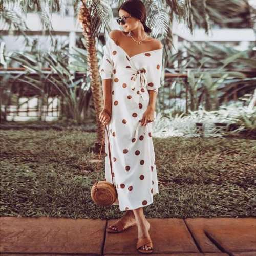 Stylish Point print One shoulder Long sleeve Maxi Dresses