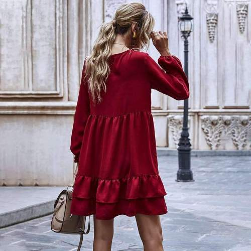 Fashion Casual Pure Round neck Long sleeve Gored Falbala Shift Dresses