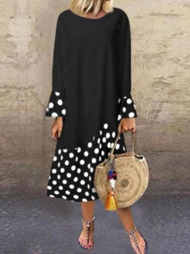 Fashion polka dot printed ruffle long sleeve maxi dresses
