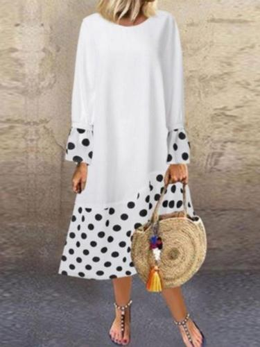 Fashion polka dot printed ruffle long sleeve maxi dresses