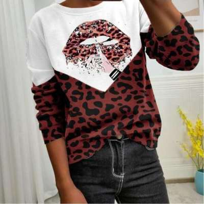 Casual Gored Leopard print Round neck Long sleeve T-Shirts