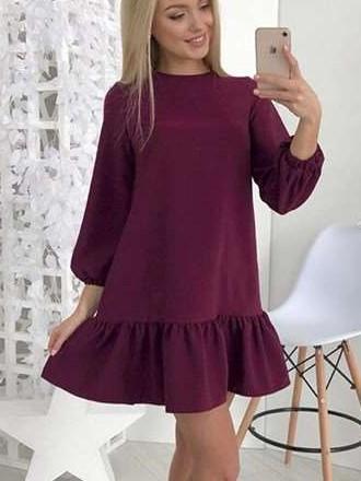 Fashion Pure Round neck Long sleeve Falbala Shift Dresses