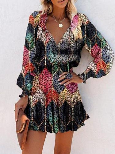 Fashion Geometric Leopard Printed Long Sleeves A-line Above Knee Casual Skater Dress es