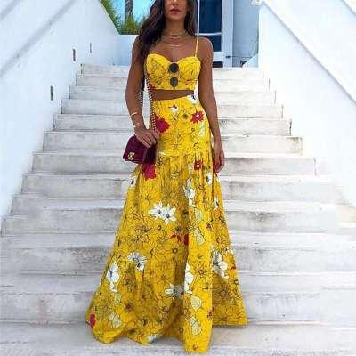 Sexy Floral print Vest&Dress Suits
