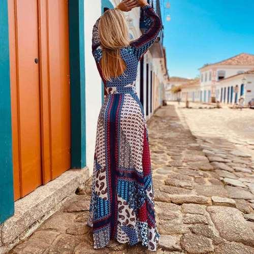Fashion Casual Gored print V neck Long sleeve Skater Maxi Dresses