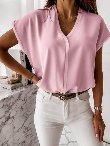 Plain pick stylish chiffon v neck women blouses