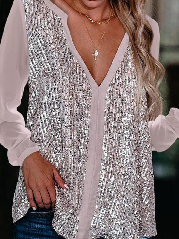 V Neck Bling Shine Women long sleeve blouses