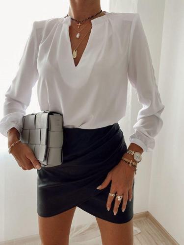 Loose long sleeve V-neck pullover T-shirt Blouses