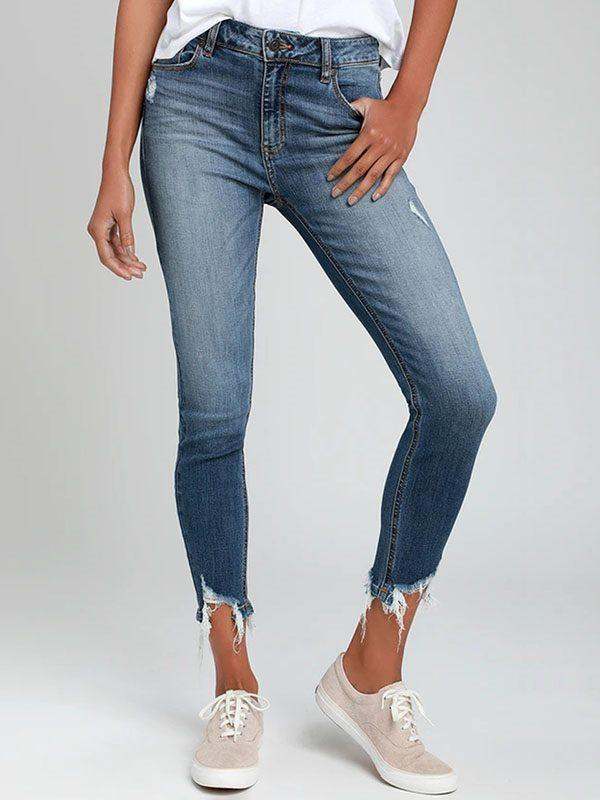 Washed white fringed stretch jeans long pants