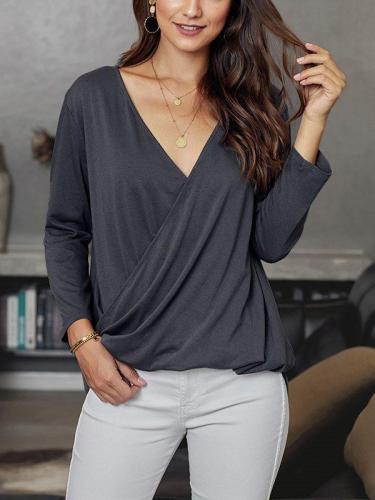 V neck plain daily women long sleeve casual T-shirts