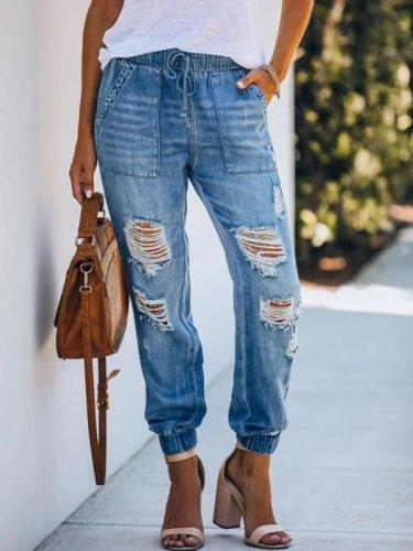 Loose elastic waist jeans high-rise ripped pocket trousers women long pants