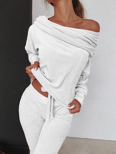 Plain off shoulder long sleeve chic women suits