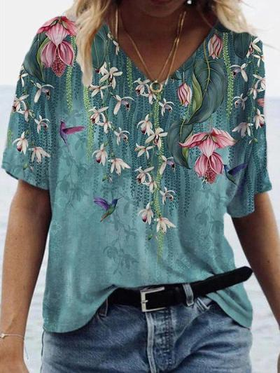 Landscape floral print v-neck short-sleeved T-shirts