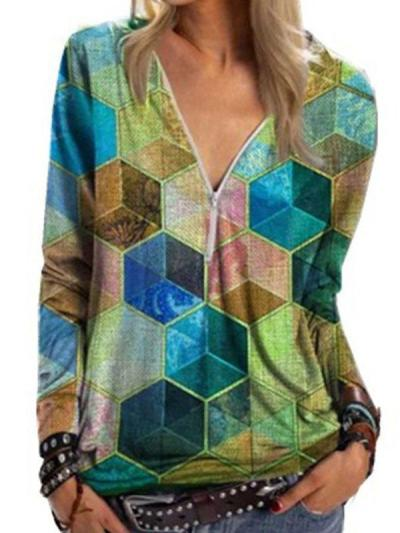 Geometric Rubik's Cube Printed V-Neck Zip Shirt Long Sleeve T-shirts