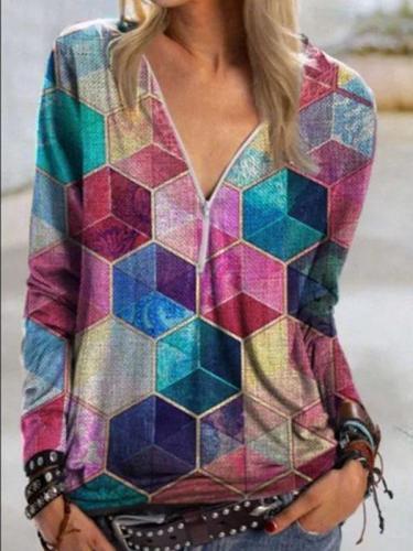 Geometric Rubik's Cube Printed V-Neck Zip Shirt Long Sleeve T-shirts