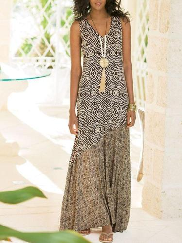 Bohemian holiday dress sleeveless print patchwork vacation long dresses
