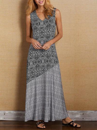 Bohemian holiday dress sleeveless print patchwork vacation long dresses
