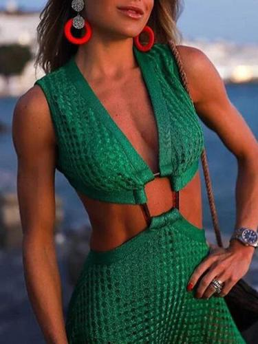 Elegant sexy women green backless maxi dresses vacation dresses