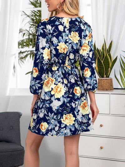 Printed cross border V-neck pullover fashion women long sleeve skater dresses