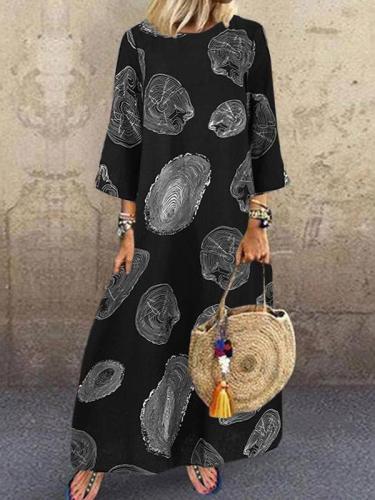 Women's round neck long sleeve irregular shape printed long sleeve maxi dresses