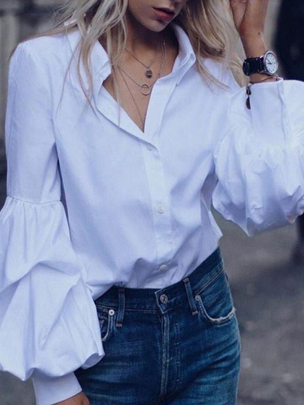 Solid color lantern long-sleeved shirt top blouses