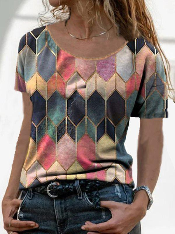 Round neck women short sleeve special printed colorful T-shirts