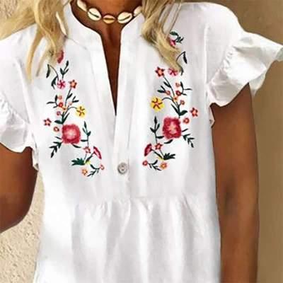 Casual Floral print V neck Short sleeve Falbala Shift Dresses