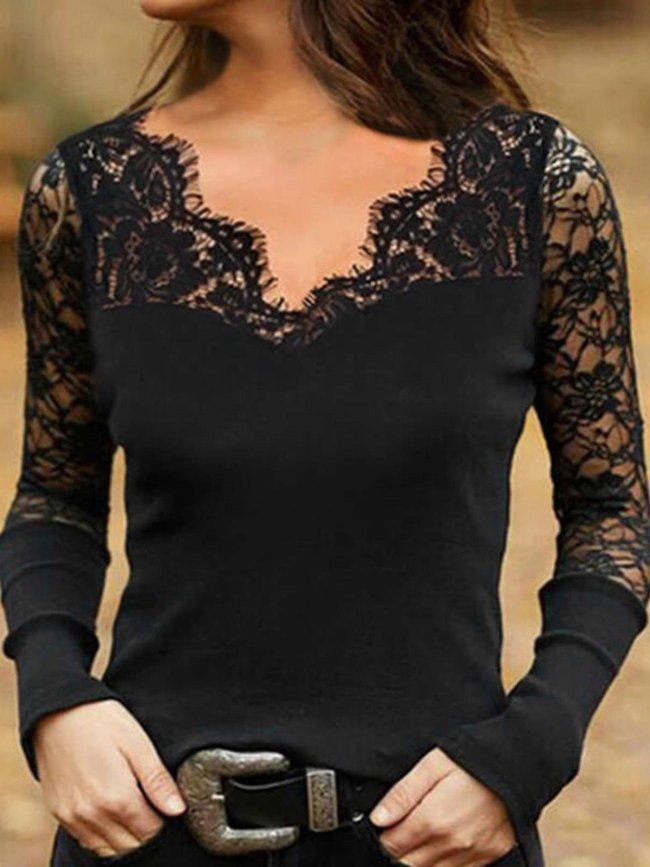 Sexy Pure Lace Hollow out V neck Long sleeve T-Shirts
