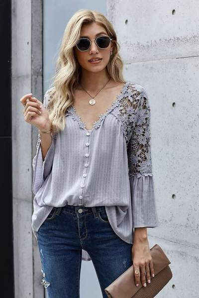 Casual Pure Lace Hollow out V neck Long sleeve Blouses