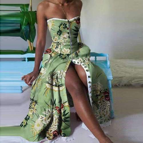 Fashion Floral print One shoulder Skater Maxi Dresses