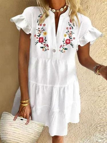 Casual Floral print V neck Short sleeve Falbala Shift Dresses