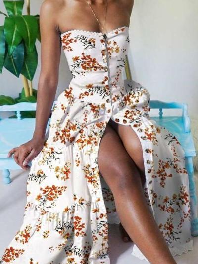 Fashion Floral print One shoulder Skater Maxi Dresses