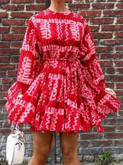 Fashion Print Round neck Long sleeve Lacing Skater Dresses