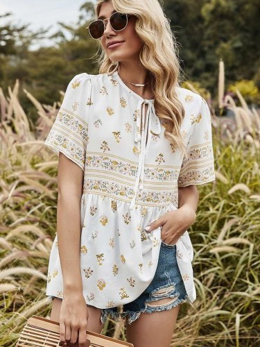 Casual Loose Print Round neck Lacing Short sleeve T-Shirts