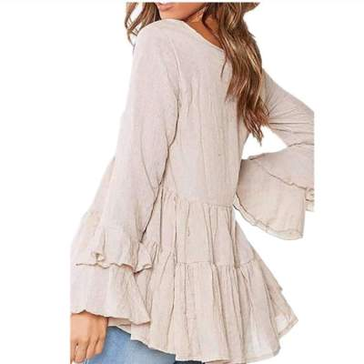 Pure Casual Round neck Gored Plicated Long sleeve T-Shirts