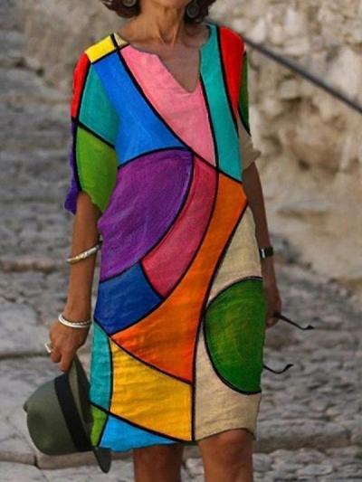 V-neck stitching retro printed long sleeve shift women dresses
