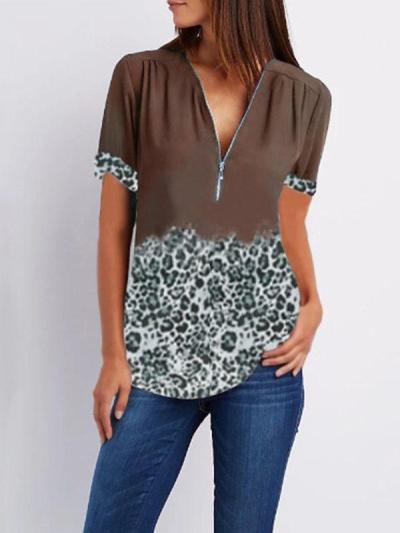 Summer leopard printed hit color V-neck zipper short-sleeved shirt T-shirt