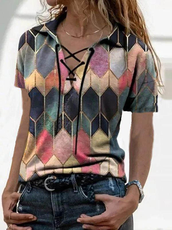 Large lapel turn down neck short-sleeved retro printing urban casual loose T-shirts