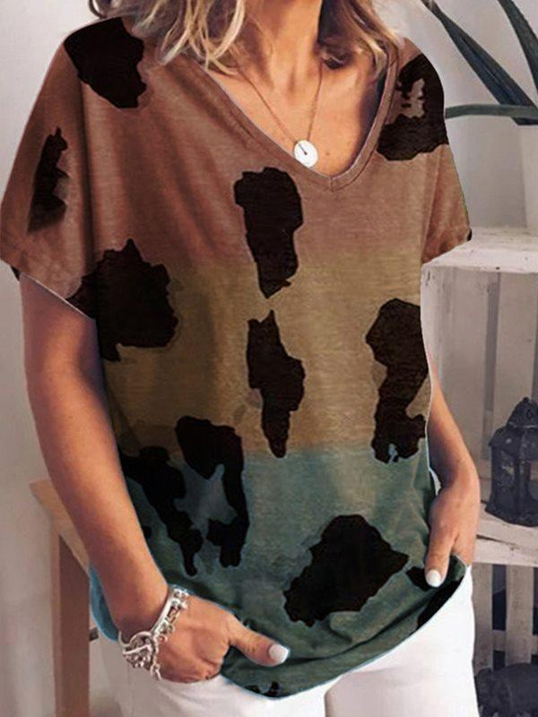 Gradient print short-sleeved European and American plus size loose T-shirts