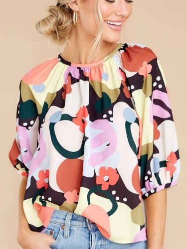 Casual Floral print Round neck Half sleeve Blouses