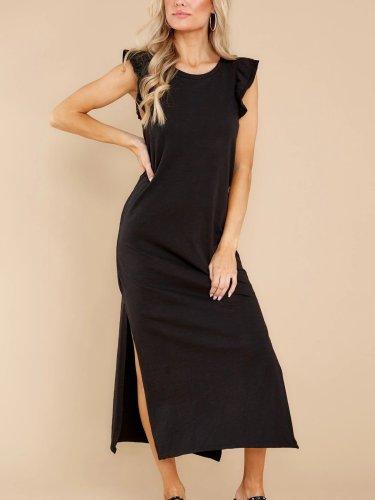 Pure Casual Round neck Sleeveless Falbala Vent Maxi Dresses