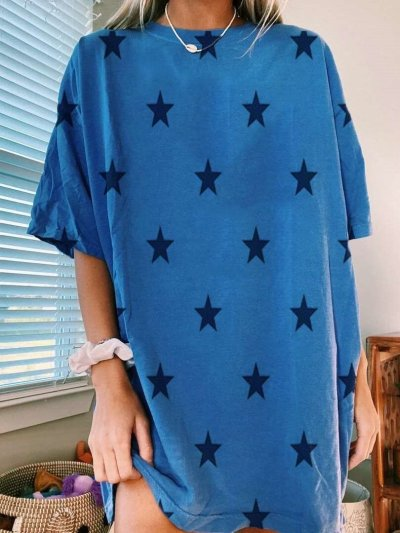 Casual Loose Star print Round neck Short sleeve Shift Dresses