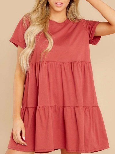 Pure Casual Round neck Gored Short sleeve Shift Dresses