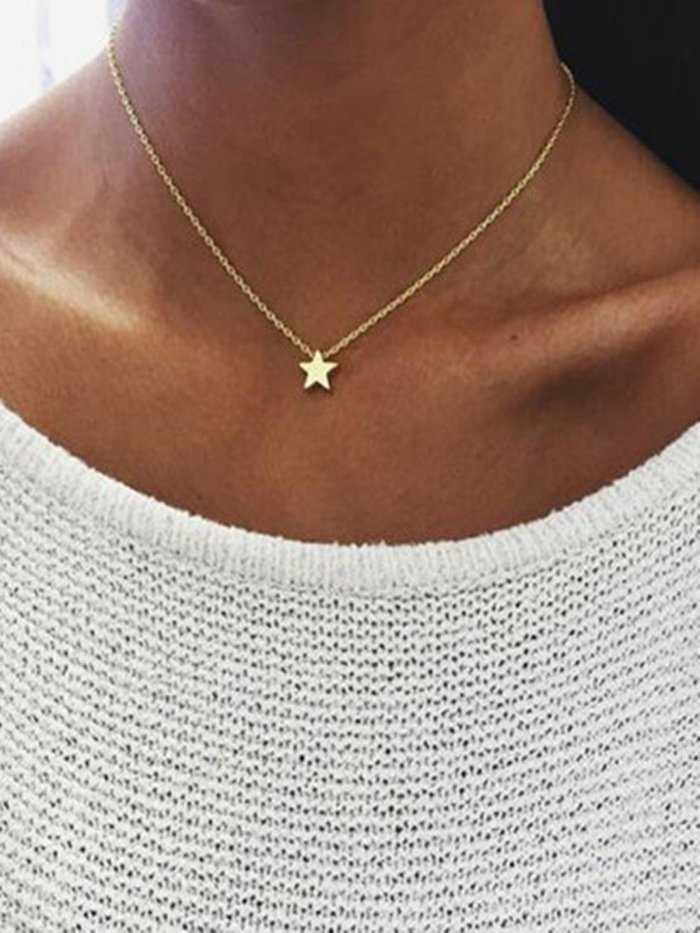 Golden Alloy Casual Necklaces