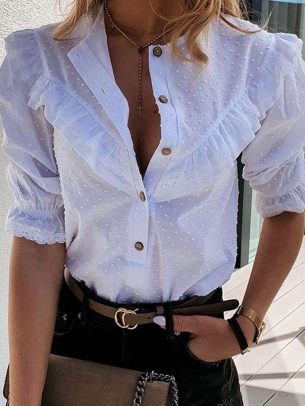 Pure Sexy Round neck Half sleeve Blouses