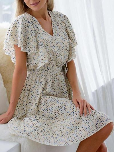 Fashion Casual Point print V neck Short sleeve Falbala Skater Dresses