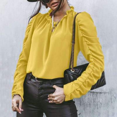 Pure Plicated Round neck Long sleeve Blouses